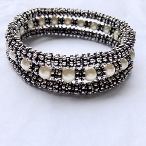 Jewelry - Silver and Pearl Triple Bracelet - Nice Quality